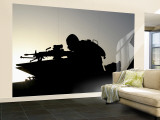 A Gunner Looks Through the Sights of His Squad Automatic Weapon Wall Mural  Large