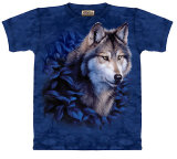 Wolf in Blue Foliage T-shirts