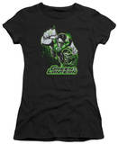 Juniors: Justice League America-Green Lantern Green & Gray T-shirts