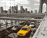 Yellow Cab on Brooklyn Bridge Print by Henri Silberman
