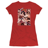Juniors: Justice League America-Wonder Woman Panels Shirts