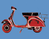 Vespa on Blue Posters par Myrjam Tell