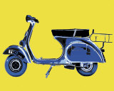 Vespa on Yellow Prints by Myrjam Tell