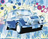 Vintage Mini Cooper Art by Michael Cheung