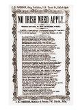 Anti-Irish, No Irish Need Apply, Sheet Music, Includes Reproduction of Newspaper Ad, Feb. 1862 Print