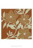 Tan Flowers with Mint Leaves I Print by Norman Wyatt Jr.
