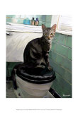 Gray Tiger Cat on the Toilet Print van Robert Mcclintock