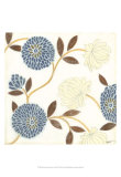 Blue and Cream Flowers on Silk II Posters by Norman Wyatt Jr.