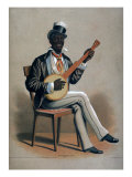 African American Man Playing the Banjo Posters