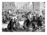 Hard Frost on the Streets of London, Engraving from 'The Illustrated London News', 1865 Posters