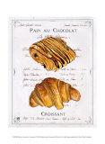 Pain au Chocolat et Croissant Prints by Ginny Joyner