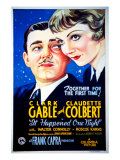 It Happened One Night, Clark Gable, Claudette Colbert, 1934 Poster