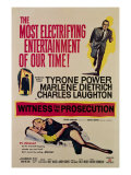 Witness for the Prosecution, Tyrone Power, Charles Laughton, Marlene Dietrich, 1957 Posters