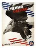 World War II, 'America Calling'. Civil Defense Recruitment Poster, 1942 Photo
