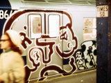 1970s America  Graffiti on a Subway Car  Times Square Subway Station  Manhattan  New York City