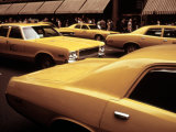 1970s America, Yellow Taxi Cabs on 5th Avenue Near 48th Street. Manhattan, New York City, 1972 Posters