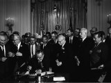 President Lyndon Johnson, Watched by Martin Luther King, Jr. Signing Civil Rights Act, July 2, 1964 Photo