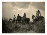 Apaches. before the Storm- Four Apache on Horseback on Horseback under Storm Clouds, 1906 Photo