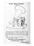 Gramophone Advertisement, Battery Motor Gramophone, 1880s Posters
