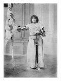 Sarah Bernhardt, French Actress, Dressed in Costume as Joan of Arc, Holding a Flag, 1900 Print