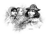 Engraved Portraits of Cherokee Women and a Man, 1880 Poster