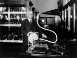 Emile Berliner with the Model of the First Phonograph Machine Which He Invented, 1920 Prints
