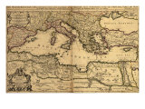 1685 Map of the Mediterranean Sea and Coastal Lands Affiches