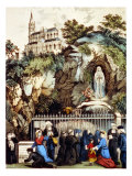 Lourdes, France, Pilgrims at the Shrine of Our Lady of Lourdes, 1890s Poster by Currier &amp; Ives 