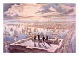New York Harbor Viewed from the Brooklyn Bridge Tower Print by  Currier & Ives