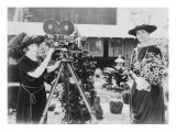 First Lady, Mrs. William Taft Is Filmed by Silent Movies Star, May Allison in 1910 Photo