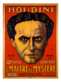 Poster Advertising Harry Houdini's Serial Movie, Le Maitre Du Mystere, Master of Mystery, 1915 Posters