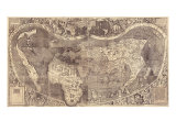 1507 World Map Incorporating Columbus' Discovery of New Lands, Using the Name, America Prints