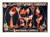 Vaudeville Troupes Often Included Acrobatic Acts, Such as That of the Brothers Lowell, 1899 Print