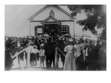Booker T. Washington Addressing Crowd from Porch of a Small Building, in Brownsville, Texas, 1900 Posters