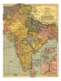 1902 Map of India, Then a Colony Within the British Empire, Showing Internal Boundaries Prints