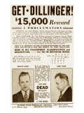 Wanted Poster for John Dillinger, Offering $15,000 for His Capture. 1934 Prints