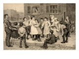 Organ Grinder Provides Music for a Sidewalk Dance of Children in a Large American City, 1894 Prints