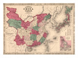 1868 Map of China and Japan, Showing Provincial Boundaries Prints