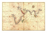 1544 Nautical Map of the Indian Ocean with Terra Incognito or Unknown Land Photo
