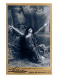 Sarah Bernhardt, French Actress, in Dramatic Pose, Kneeling with Arms Raised, 1892 Prints