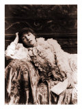 Sarah Bernhardt, French Actress, Reclining on a Divan in an 1880's Portrait Photo
