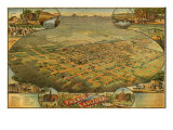 1885 Bird's Eye View of Phoenix, Arizona Prints