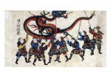 Japanese Print Shows Eight Chinese Men Holding Up a Dragon with Sticks for the Dragon Dance, 1875 Poster