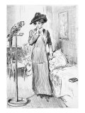 1911 Drawing by Charles Dana Gibson, Illustrates a Scene of a Gibson Girl and a Parrot Poster