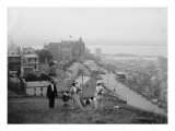 Family Walks on the Heights of Quebec City, Le Chateau Frontenac in the Background, 1910 Photo