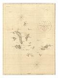 1798, Landkarte von den Galapagosinseln in dem Pazifik Poster