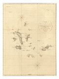 1798 Map of the Galapagos Islands in the Pacific Ocean Posters