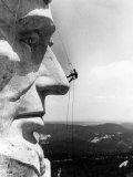 Maintenance Worker on the Nose of Mount Rushmore's Abraham Lincoln, South Dakota, 1960s Prints