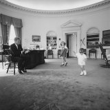 Caroline and John Jr. Dance in the Oval Office as President Kennedy Claps. 1962 Photo