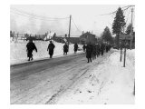 World War II, Us Army Infantrymen March on a Road Near Bastogne, Belgium. Dec 1944 Photo